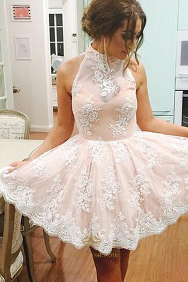 28941af8be9 Light Pink Halter Lace Embellished Keyhole Back Short Homecoming Dress SKU  -AP778