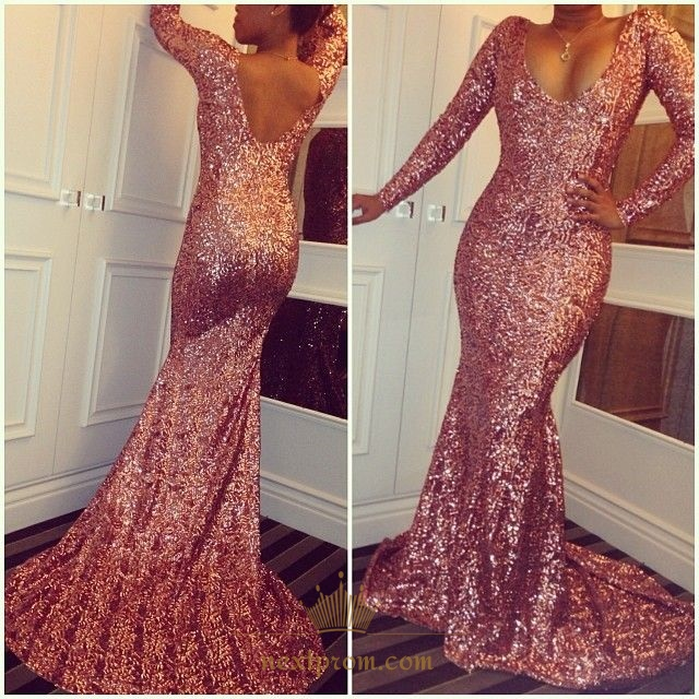 Simple Pink Long Sleeve Sequin Sheath Mermaid Floor Length