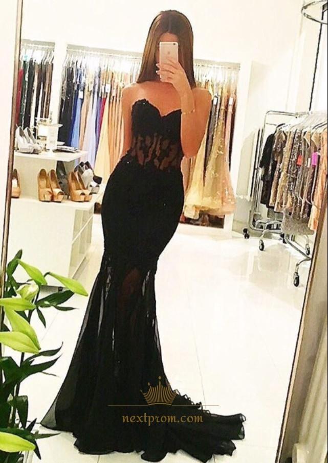 88ae6b128fa11 Black Strapless Sweetheart Lace Embellished Mermaid Long Prom Dress SKU  -AP801