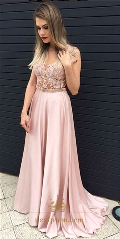 2ce4a93a4a890 Light Pink Sleeveless Illusion Beaded Bodice Chiffon Long Prom Dress SKU  -AP806