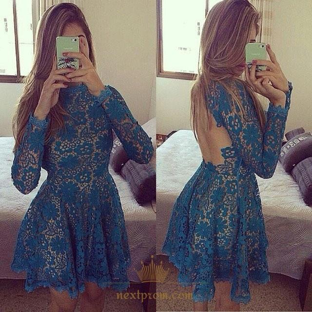 5a6b70179ae Long Sleeve High Neck Knee Length Homecoming Dress With Keyhole Back SKU  -AP811
