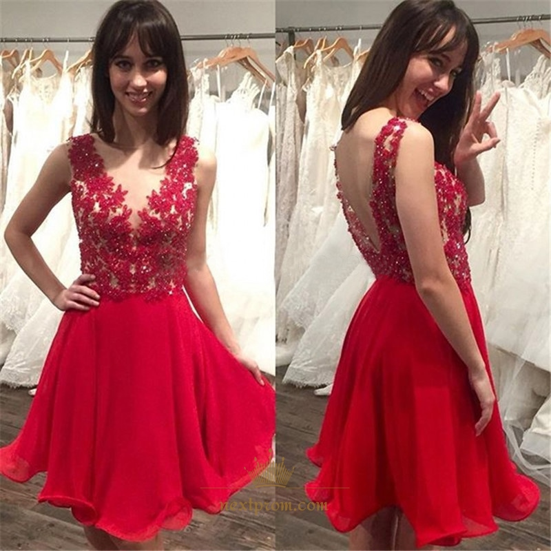 341019b32aa35 Red V-Neck Sleeveless Lace Top Chiffon Bottom Short Homecoming Dress SKU  -AP813