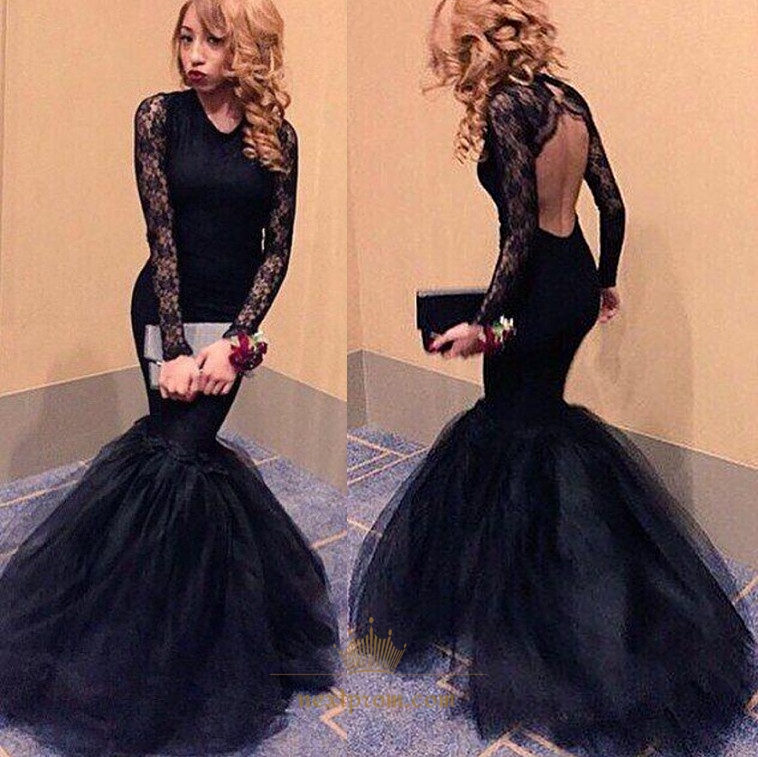 29494a95dea Black Lace Long Sleeve Tulle Mermaid Formal Dress With Keyhole Back SKU  -AP834