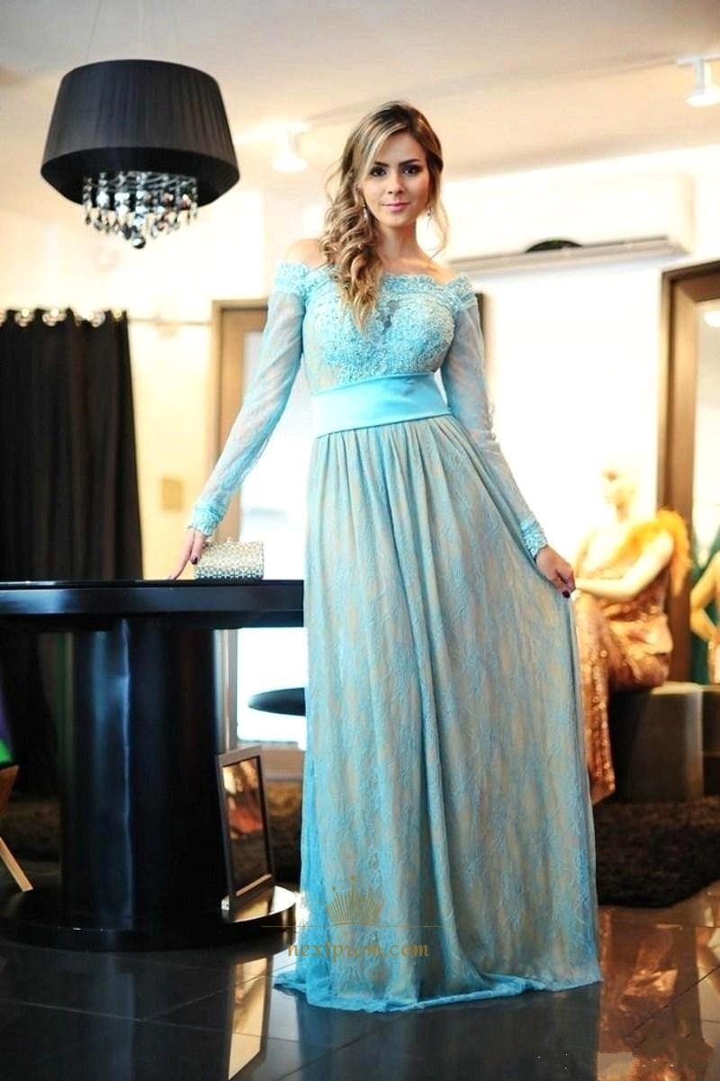 Aqua Blue Off The Shoulder Long Sleeve Lace Floor Length Prom ...