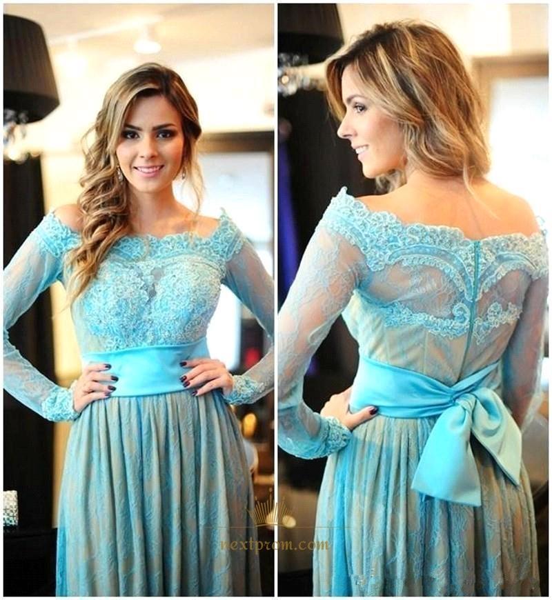 6f937bb5e7ba Aqua Blue Off The Shoulder Long Sleeve Lace Floor Length Prom Dress ...