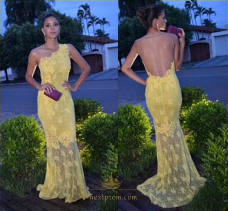 3c555fa2664 Light Yellow One Shoulder Sheer Back Lace Overlay Mermaid Prom Dress SKU  -AP848