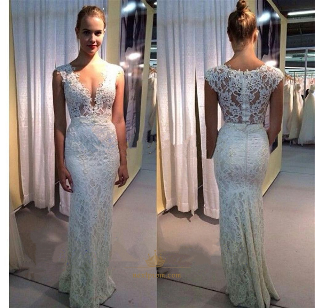 e5055cd9c2 Elegant White Deep V-Neck Cap Sleeve Lace Sheath Mermaid Evening Dress SKU  -AP851
