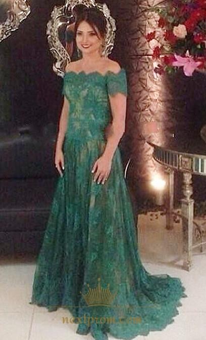 Elegant Emerald Green Off The Shoulder Lace A Line Long Evening Dress