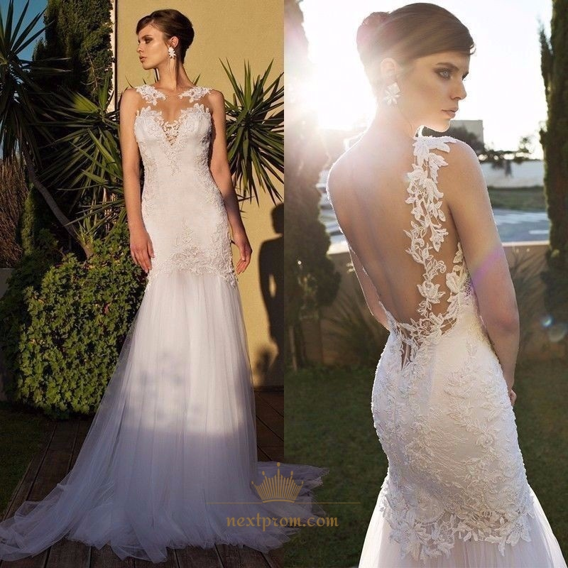 White Sleeveless Backless Sheer Lace Top Tulle Mermaid