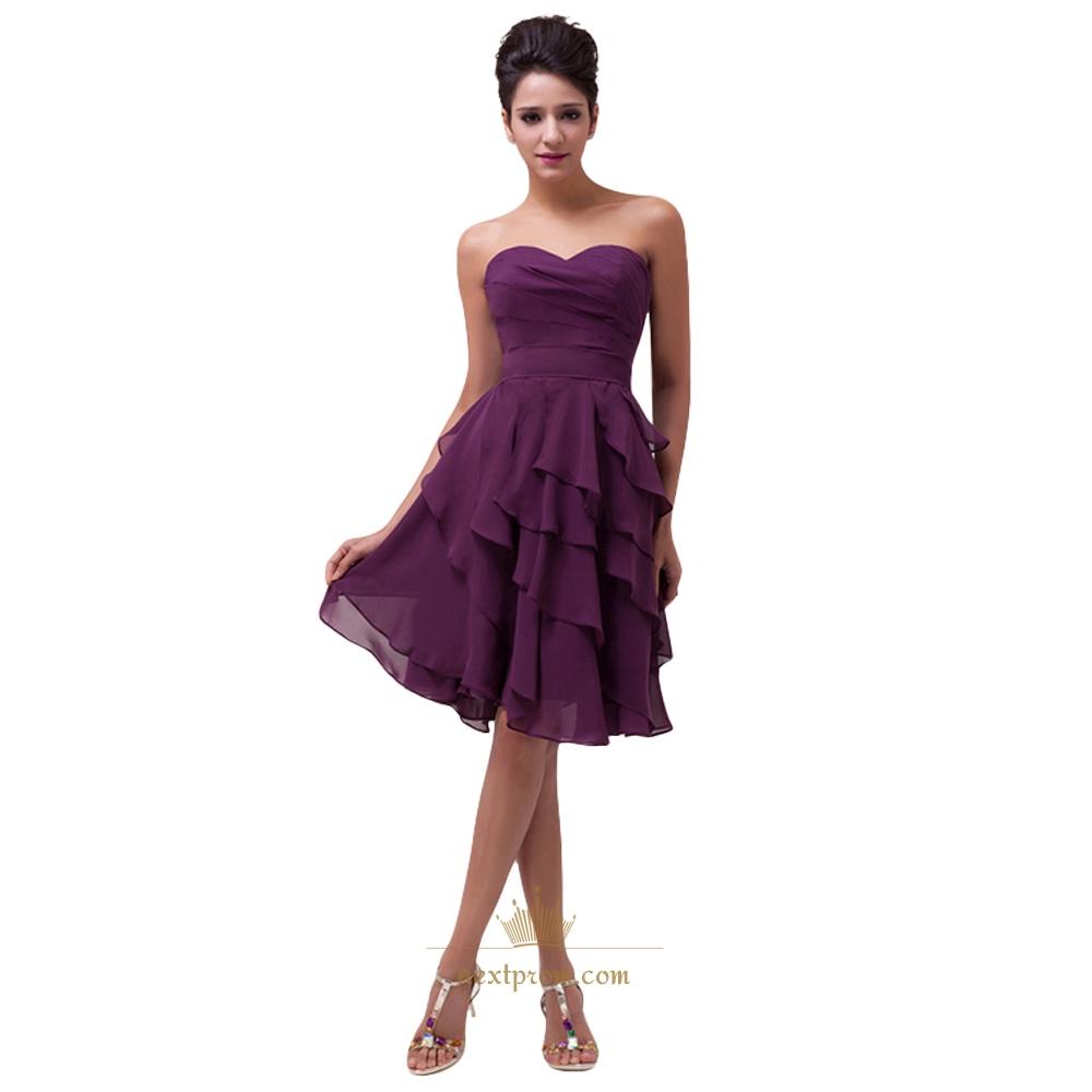 Purple Short Bridesmaid Dresses, Purple Tea Length