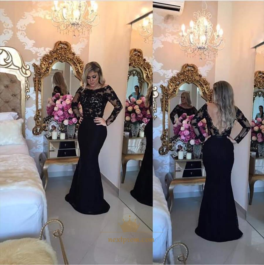 c970bb1f1b8a5 Black Illusion Long Sleeve Lace Bodice Backless Mermaid Evening Dress SKU  -AP886