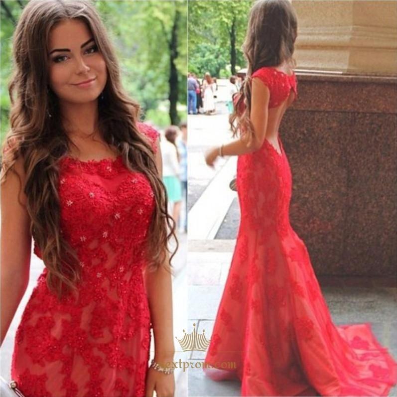 Elegant Red Cap Sleeve Long Mermaid Lace Prom Dress With Keyhole Back SKU  -AP914 b8fff50cf