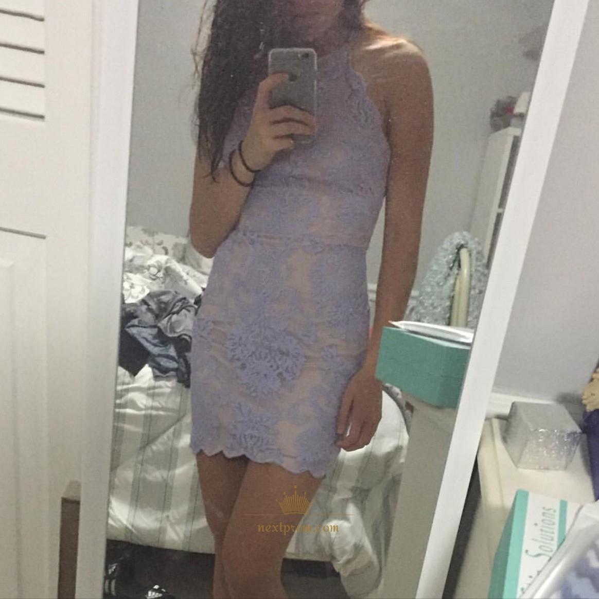 588ad44b86bf Lilac Short Sleeveless Spaghetti Strap Lace Bodycon Homecoming Dress ...