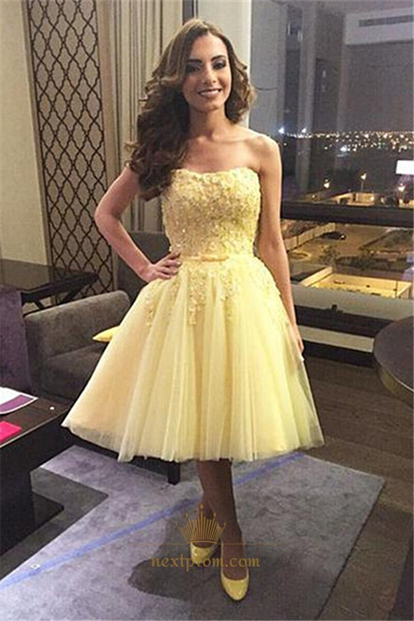 Tea Length Banana Yellow Strapless Lace And Tulle Homecoming Dress ...
