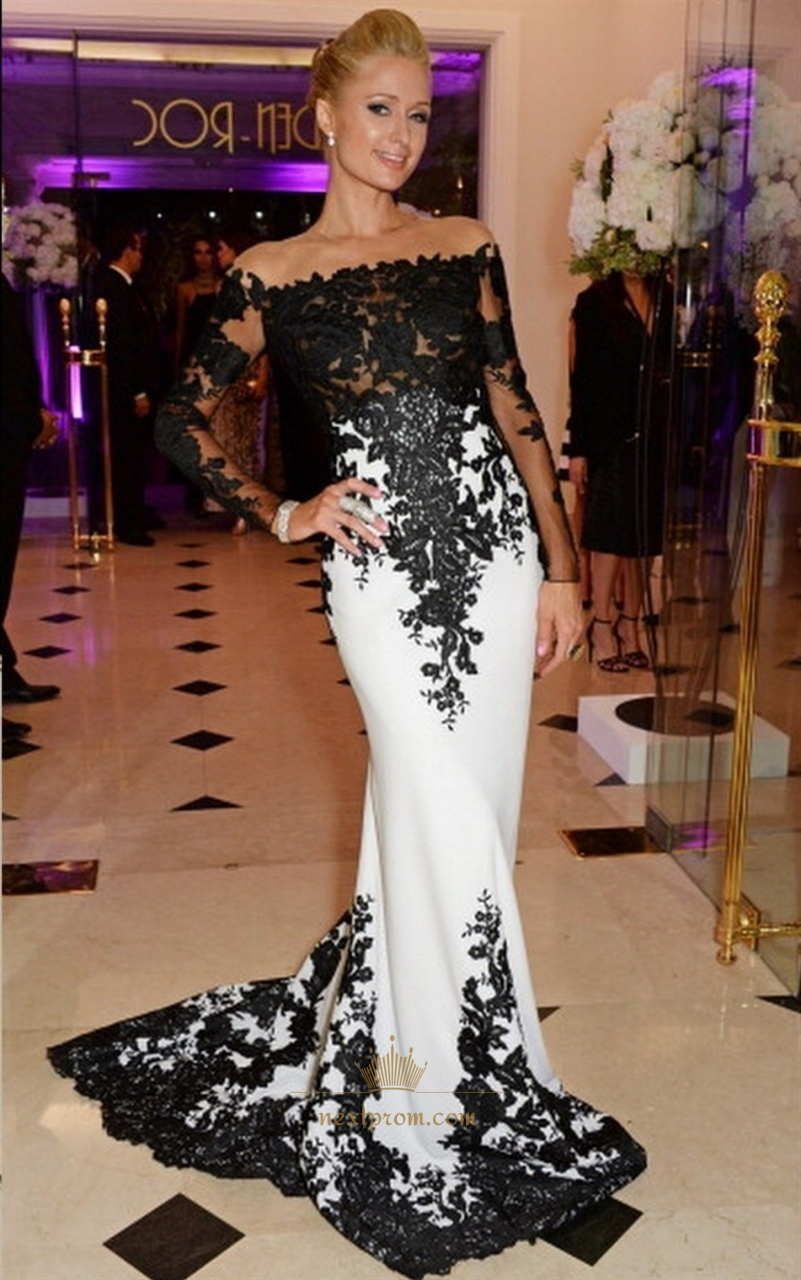 Off Shoulder Long Sleeve White And Black Lace Embellished Prom Dress