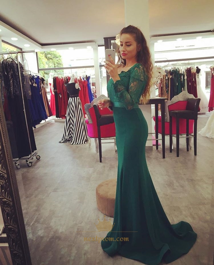 8ba46b704c Elegant Emerald Green Long Sleeve Lace Bodice Satin Mermaid Prom Dress SKU  -AP1039