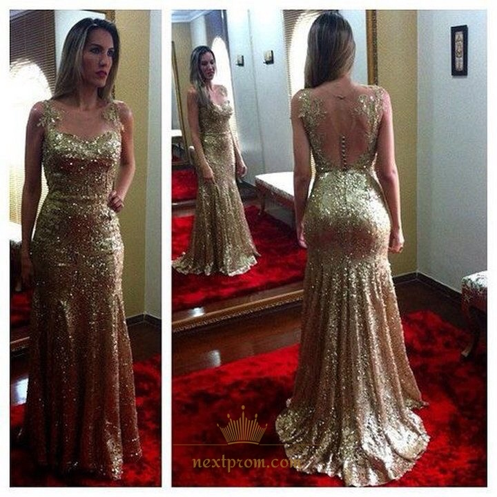 bc15194603a Champagne Sleeveless Sequin Mermaid Evening Dress With Sheer Neckline SKU  -AP1052