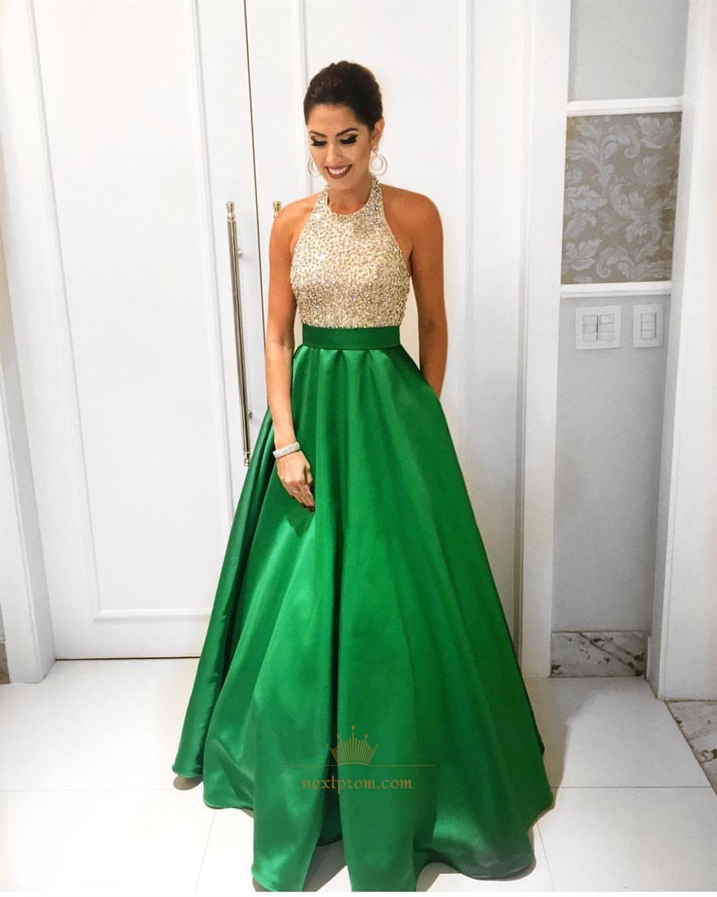 Grass Green Beaded Halter Top Elegant Floor Length A-Line Prom Dress ...