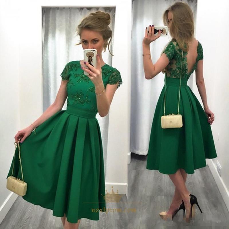 99dbba6c9a Tea Length Emerald Green Short Sleeve Backless A-Line Homecoming Dress SKU  -AP1100