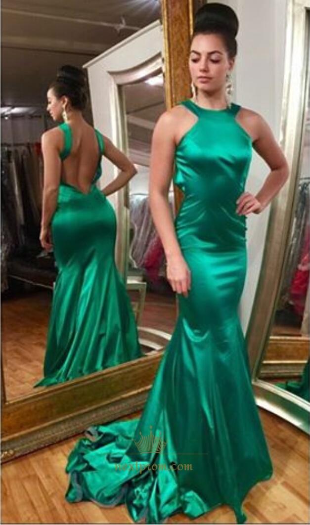 Elegant Emerald Green Sleeveless Backless Mermaid Long