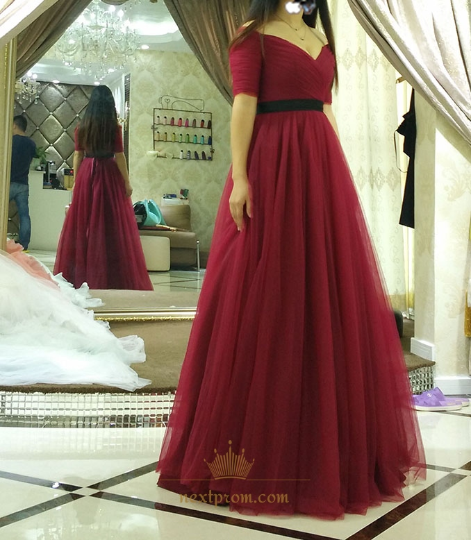 Burgundy Off The Shoulder Ruched Bodice A-Line Prom Dress