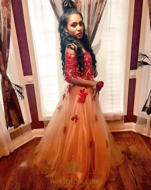 522d45f904c Half Sleeve Off-The-Shoulder Elegant Tulle Prom Dress With Applique ...