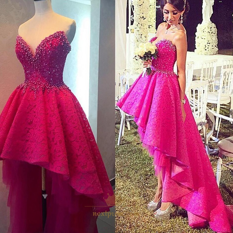 Fuchsia Gown: Fuchsia Strapless Sweetheart Lace High Low Wedding Dress