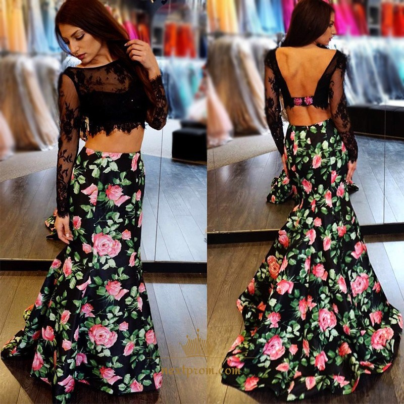 55c2c07cd87 Floral Two Piece Long Sleeve Lace Bodice Mermaid Dress With Open Back SKU  -AP1251