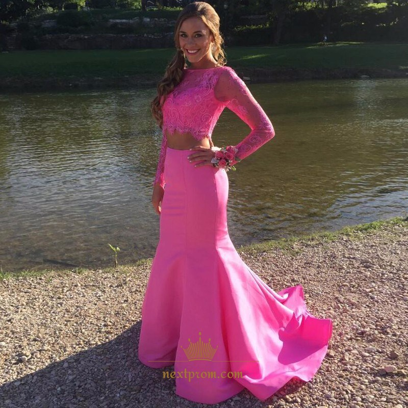 Elegant Hot Pink Two-Piece Long Sleeve Lace Top Mermaid Formal Dress ...