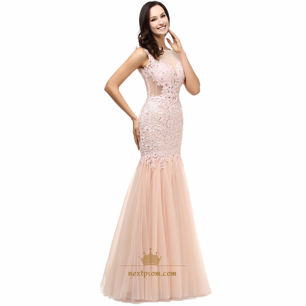 Illusion Cap Sleeve Lace Bodice Drop Waist Tulle Mermaid Prom Dress ...