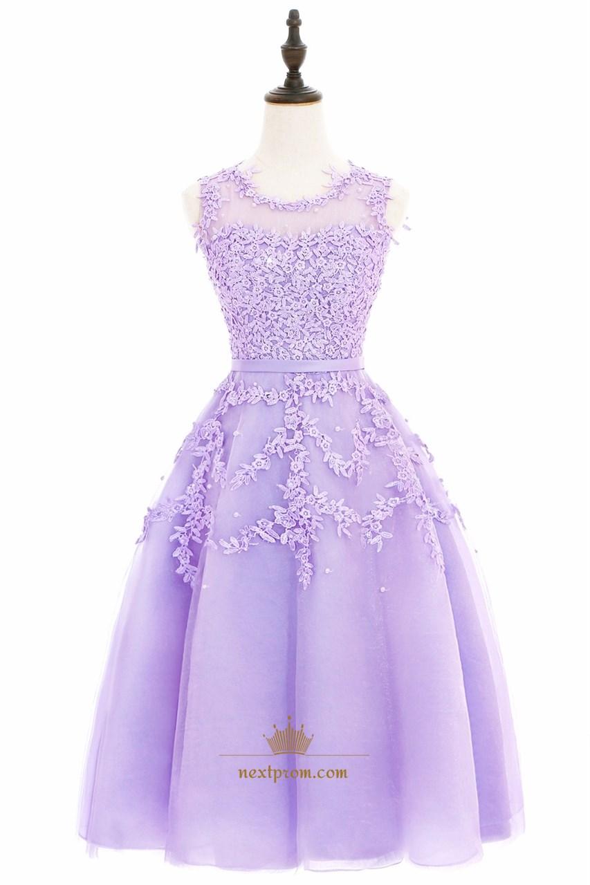 0a2a7301e8d35c Illusion Lavender Sleeveless Lace Floral Applique A-Line Short Dress SKU  -AP1280