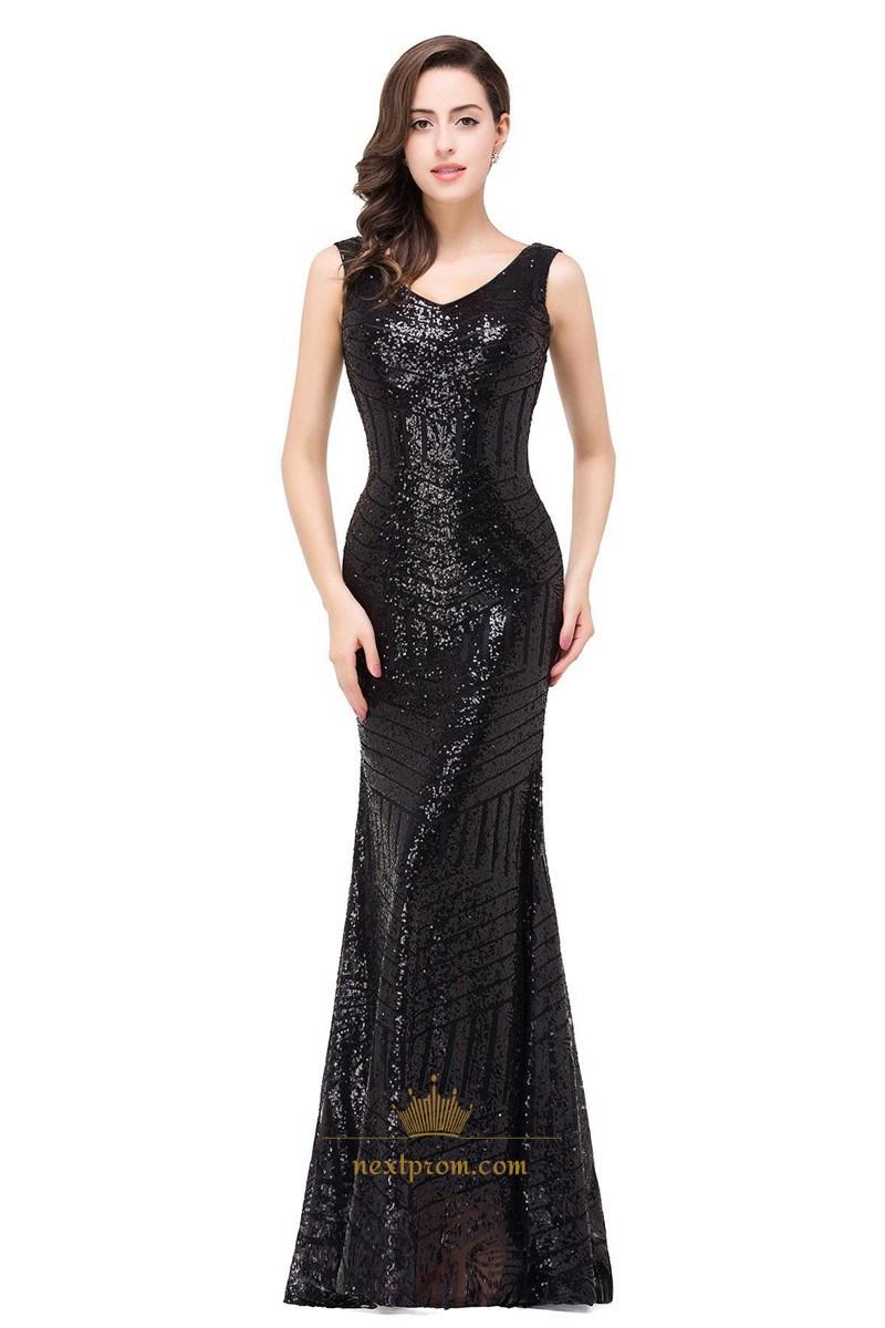 Shiny Rainbow Paillette Sequin V-neck Mermaid Fashion Long