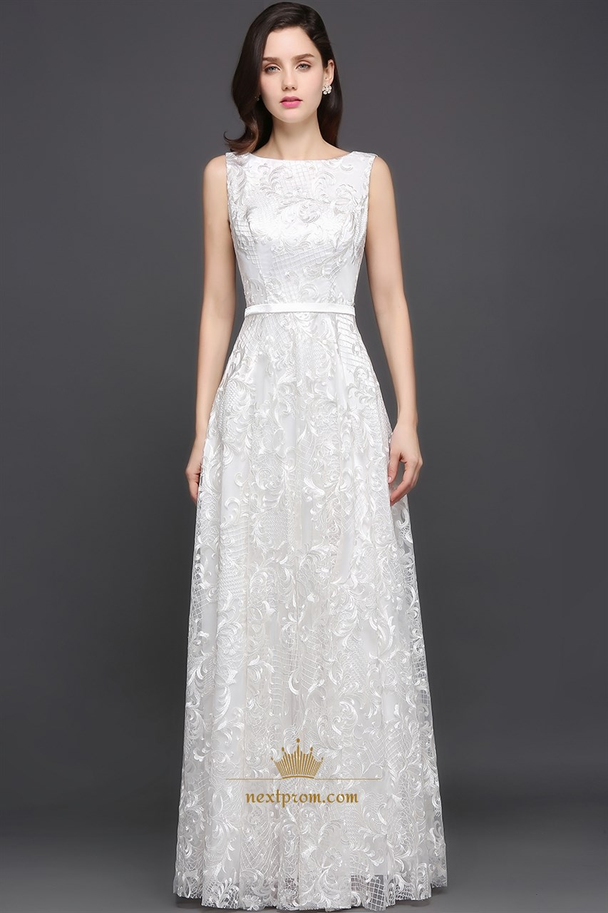 White Lace Long Halter Backless Evening Dress - $109.98 #