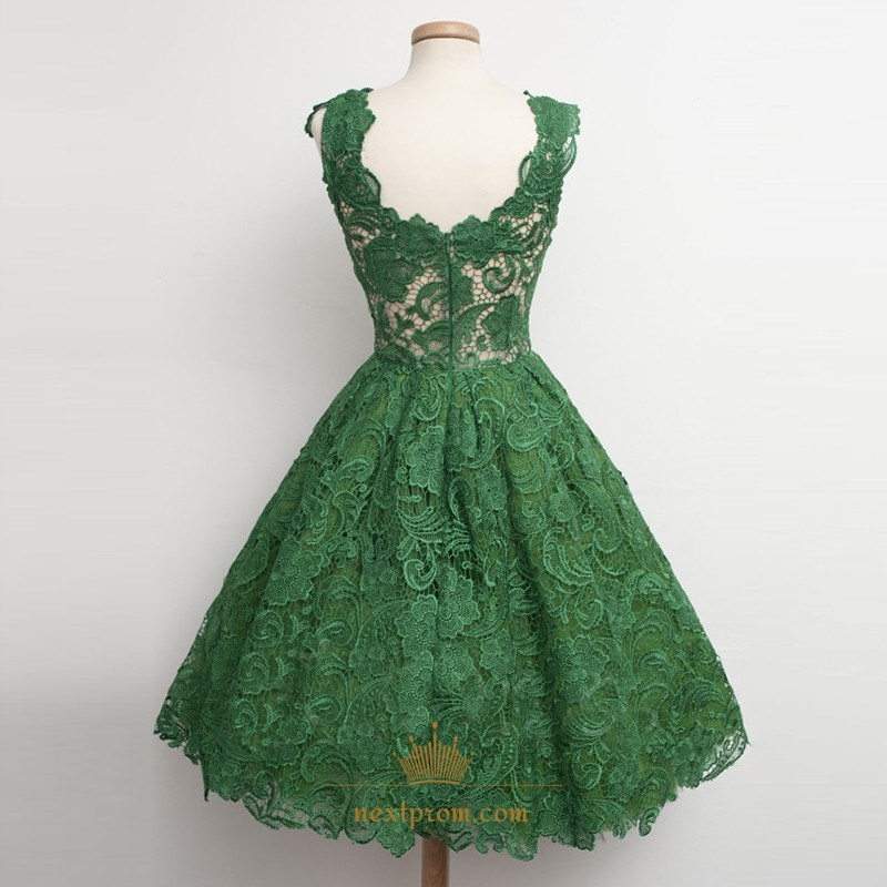 3158302810a Cute Emerald Green Sleeveless A-Line Knee Length Lace Cocktail Dress ...