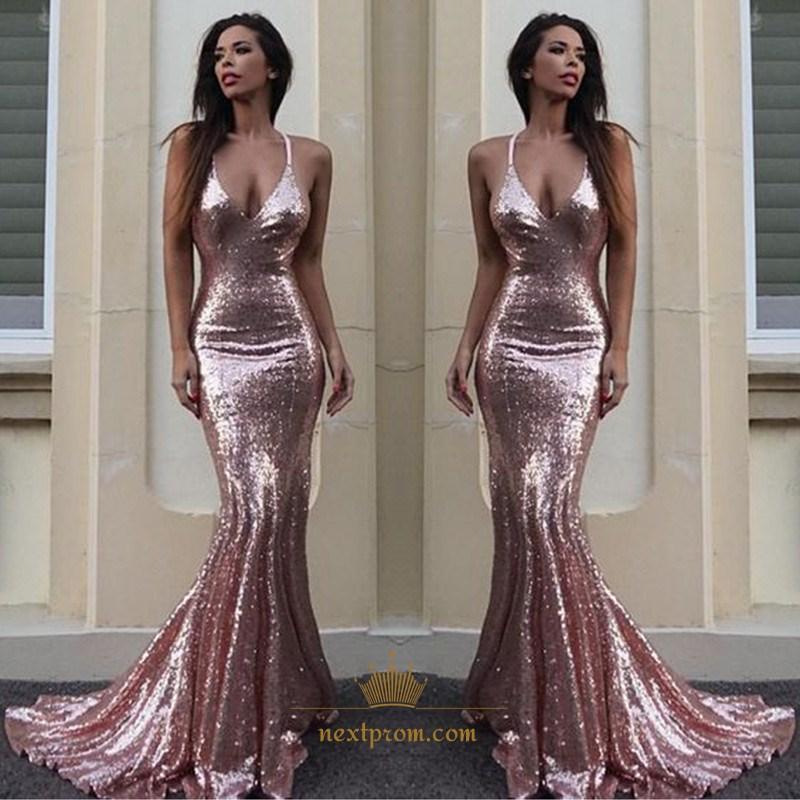 Custom Made V Neck Lace Top Plain Satin Elegant Long: Pink Sequin Spaghetti Strap V-Neck Mermaid Floor Length
