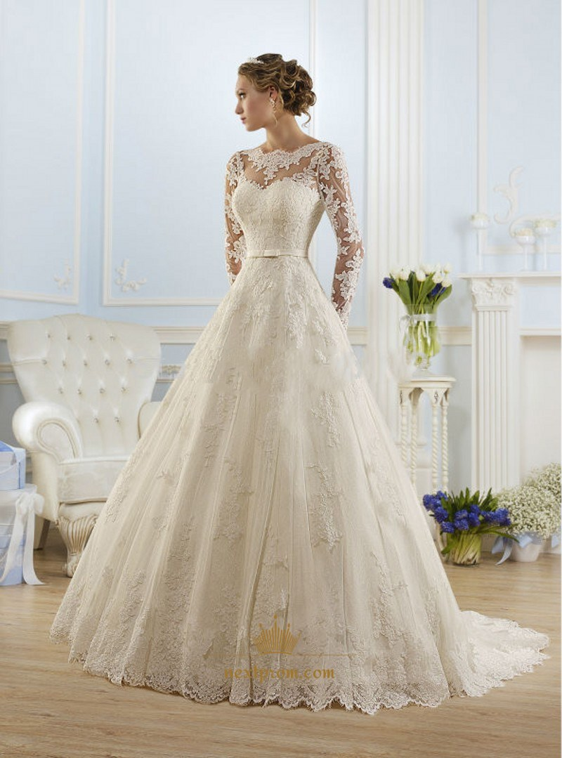 Illusion Long Sleeve Open Back Lace A Line Ball Gown Wedding Dress Next Prom Dresses,Outdoor Wedding Fall Wedding Guest Dresses 2020