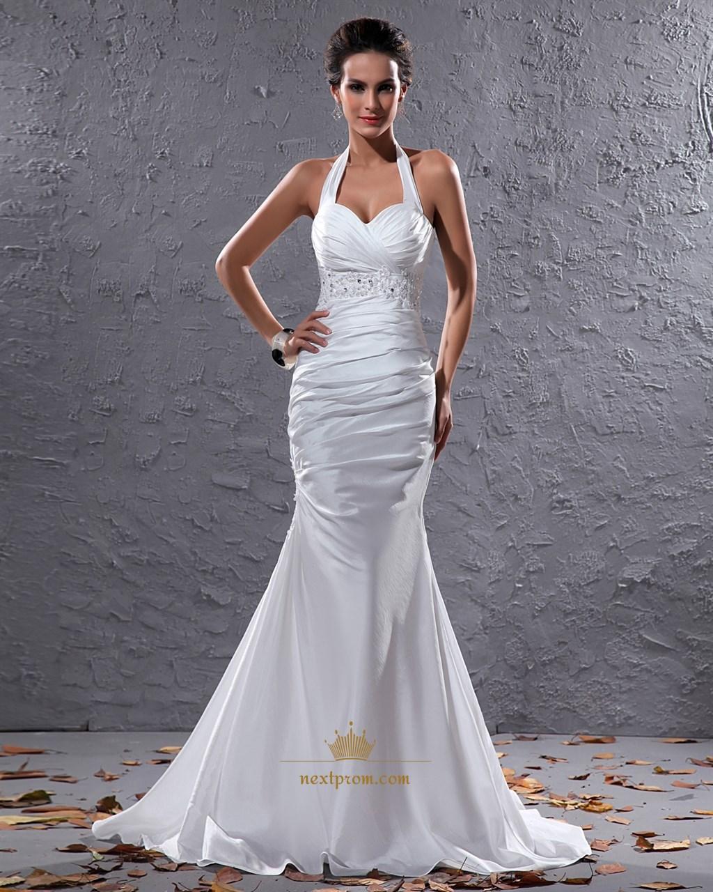 Elegant White Halter Neck Floor Length Lace Embellished