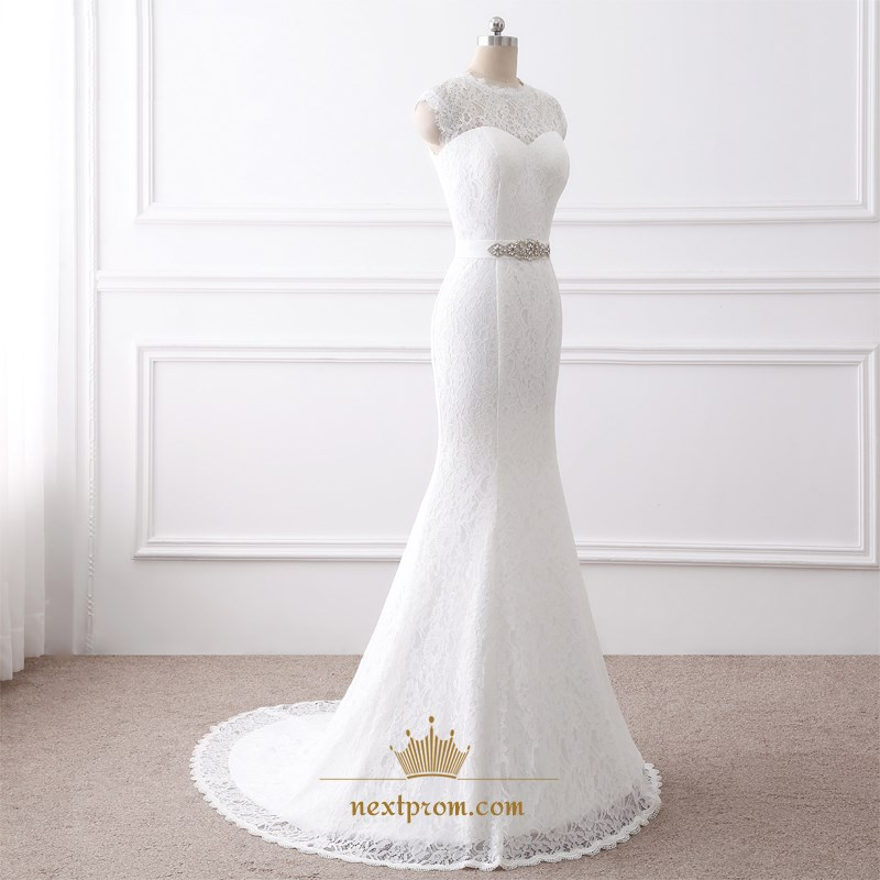 Cap sleeve lace floor length mermaid wedding dress with for Wedding dress with keyhole back