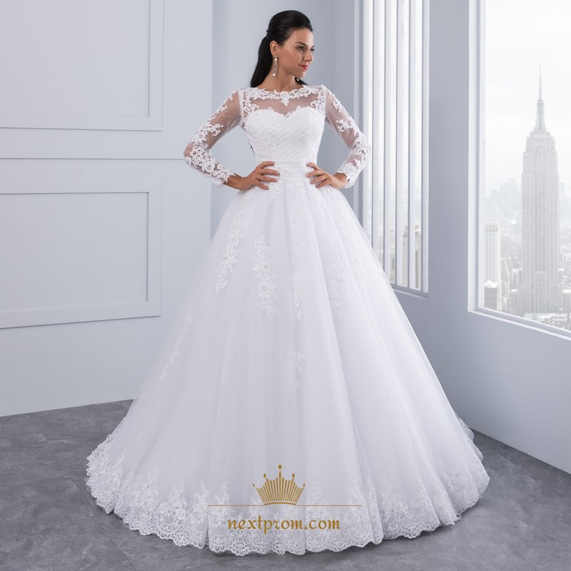 ae2c154f6e084 Illusion Long Sleeve Lace & Tulle A-Line Wedding Dress With Beading SKU  -FS2566