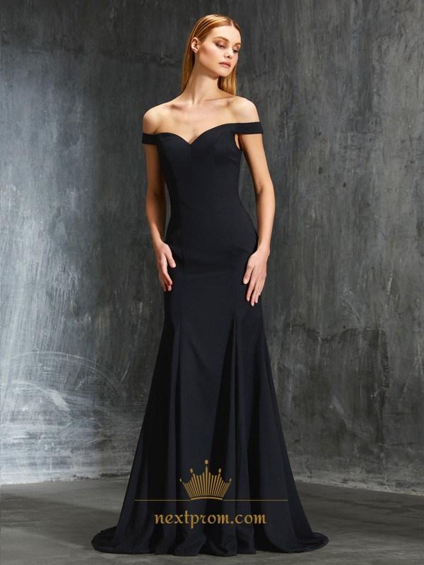 Black Elegant Off The Shoulder V Neck Open Back Mermaid