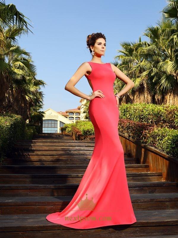 c7db216dbcaa Coral Simple Floor Length Sleeveless Mermaid Prom Dress With Open Back SKU  -FS2624