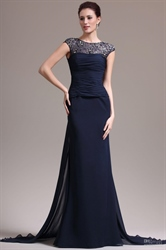 Navy Blue Mermaid Chiffon Prom Dresses 2016,Navy Blue Prom Dresses With Lace Sleeves