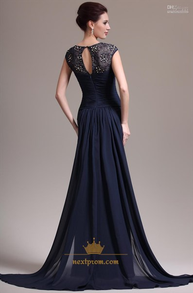Navy Blue Mermaid Chiffon Prom Dresses 2019,Navy Blue Prom Dresses With Lace Sleeves