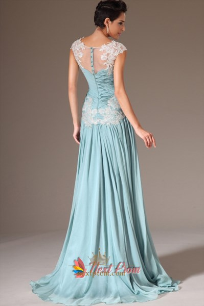 Cap Sleeve Light Blue Casual Prom Dresses,Light Blue Evening Dresses With Lace Sleeves