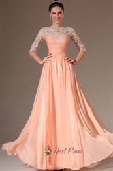 Peach Casual Dresses With Lace Sleeves,Apricot Peach Prom Dresses  With Lace Overlay
