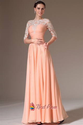 Peach Casual Dresses With Lace Sleeves Apricot Peach Prom