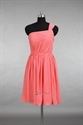 Coral One Shoulder Bridesmaid Dresses,Short One Shoulder Coral Chiffon Dress