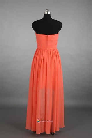 Coral High Low Bridesmaid Dress,Strapless Coral High Low Chiffon Dress
