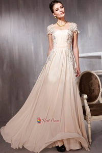 Long Pale Pink Prom Dresses With Lace Cap Sleeves,Pale Pink Evening Dress UK 2021