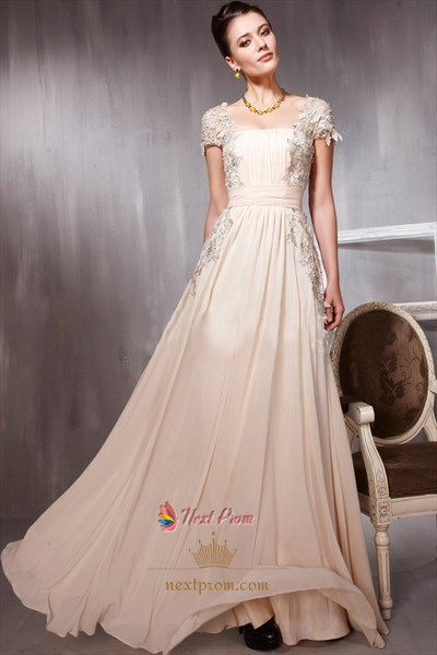 Long Pale Pink Prom Dresses With Lace Cap Sleeves,Pale Pink Evening Dress UK 2019